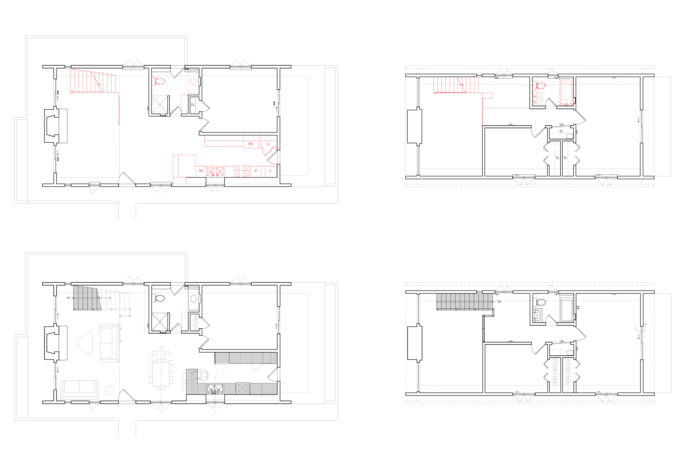 Before and after plans for renovation of New York home to maximise space and design