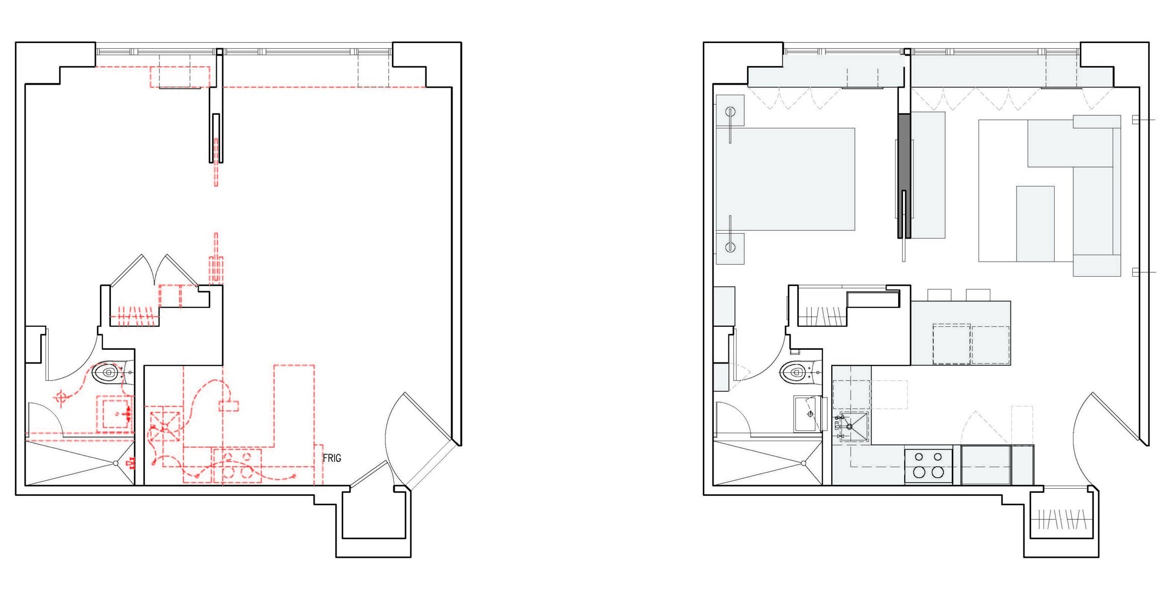 Apartment floorplan before and after design to lighten the spacech