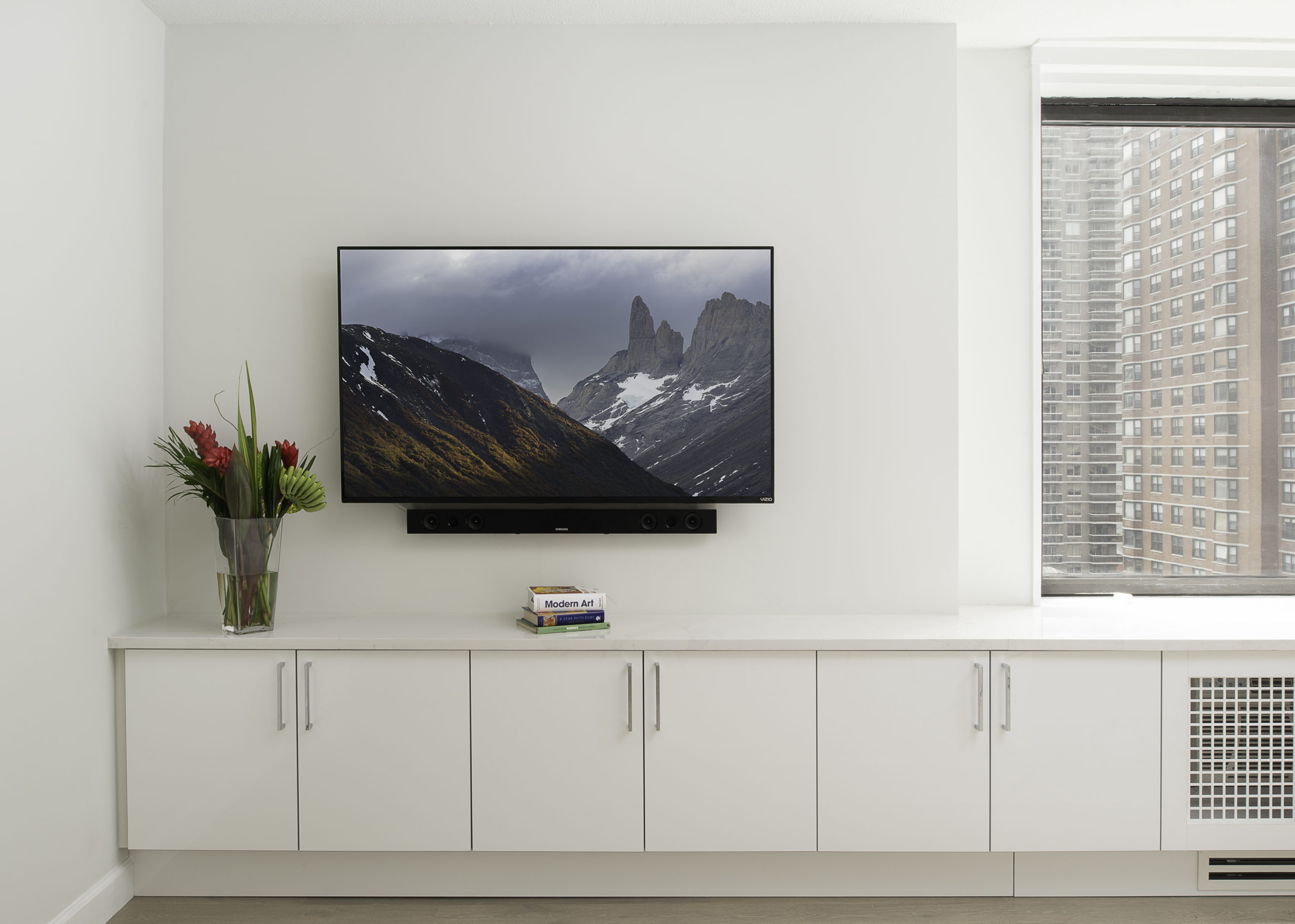 Entertainment space in apartment resign by EXD Architecture, NYC
