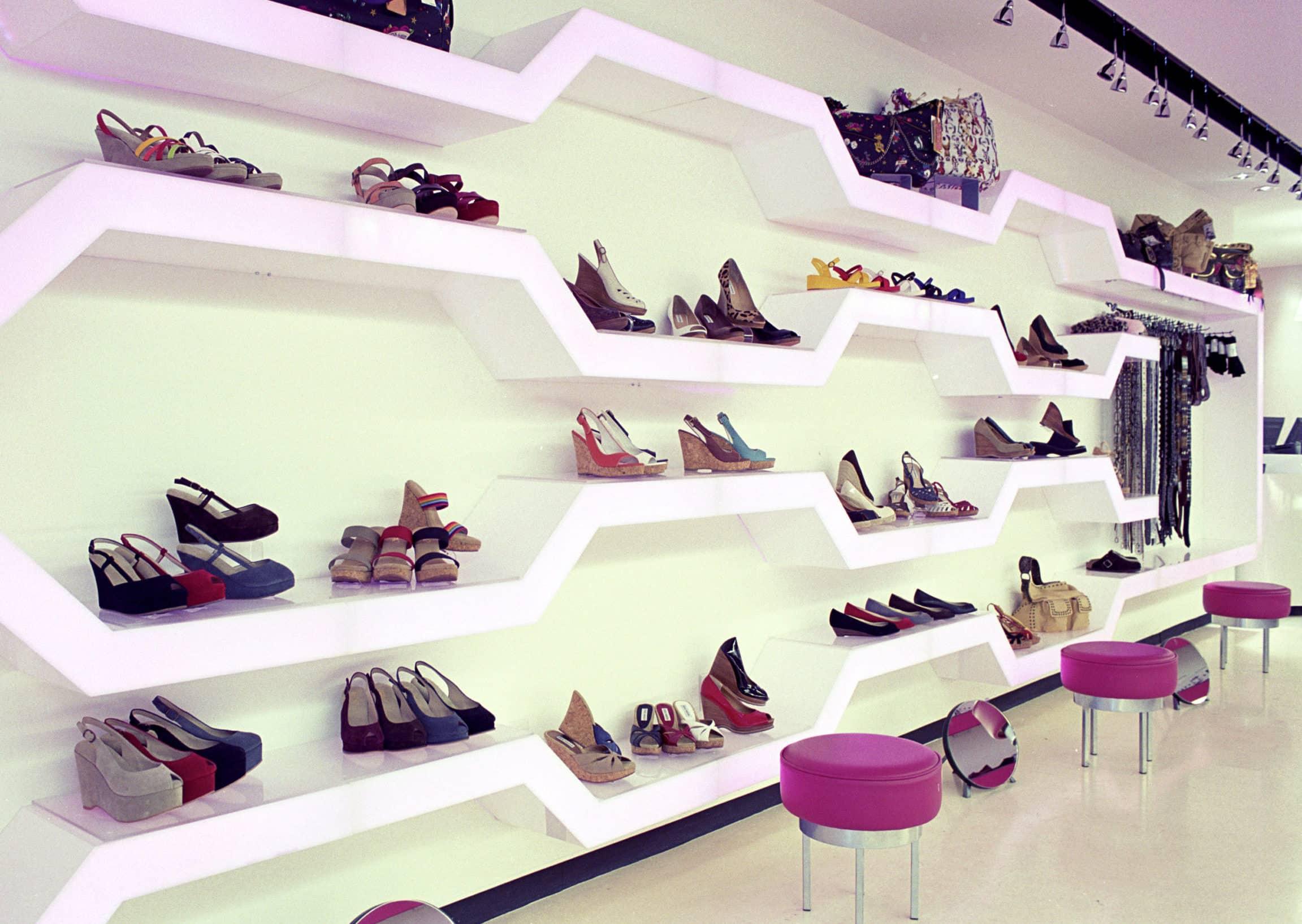 Merchandise display design for the Steve Madden Boutique, Upper East Side, New York