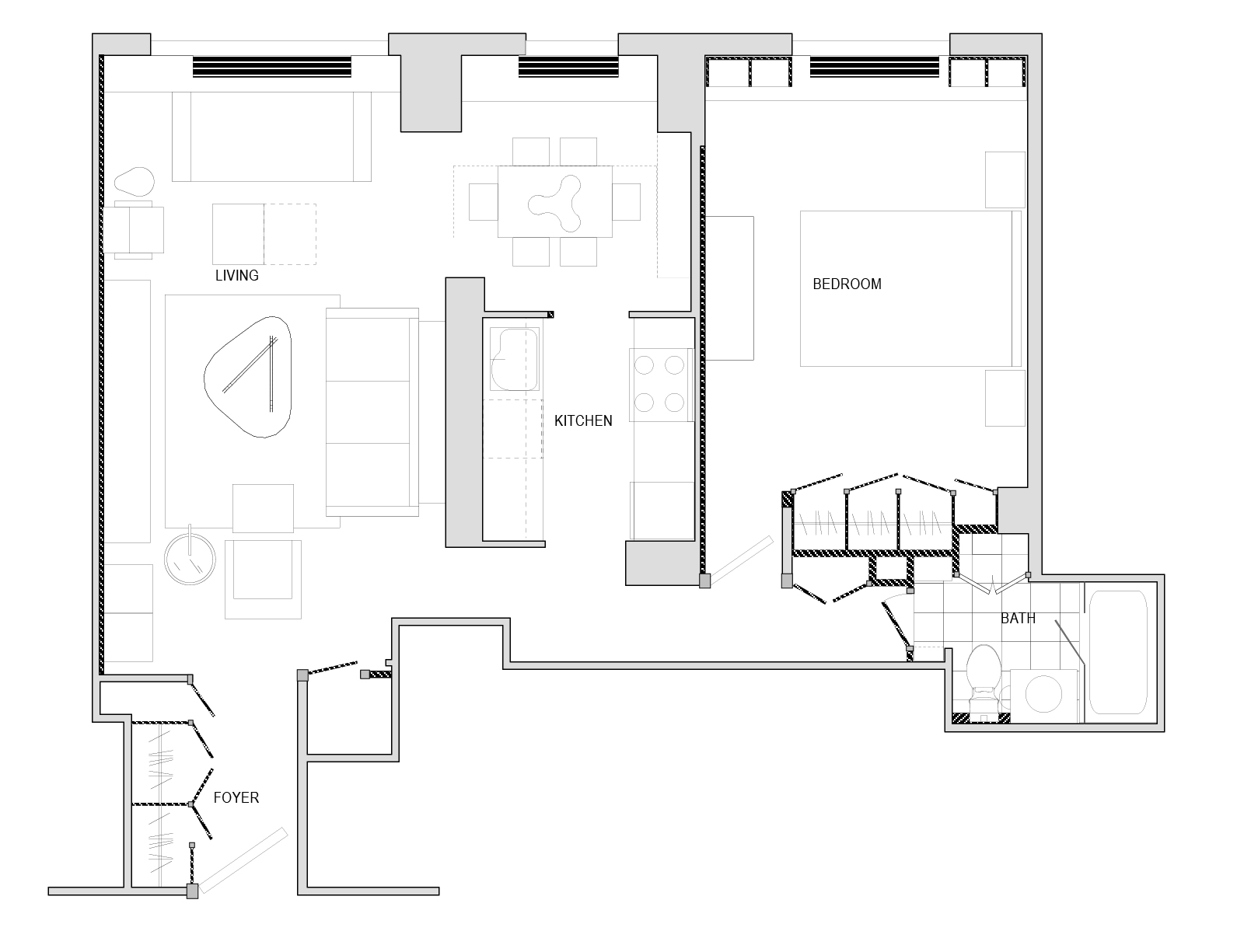 Before and after floorplan for apartment gut renovation, New York City