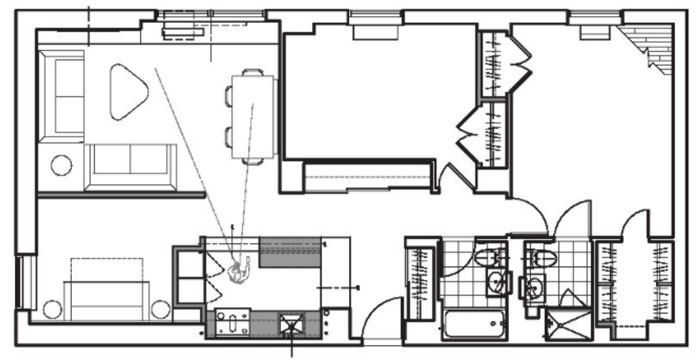 Floorplan before renovation to add extra bedroom to Upper East Side apartment