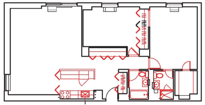 Existing floor plan before renovation of Upper East Side Apartment, NYC