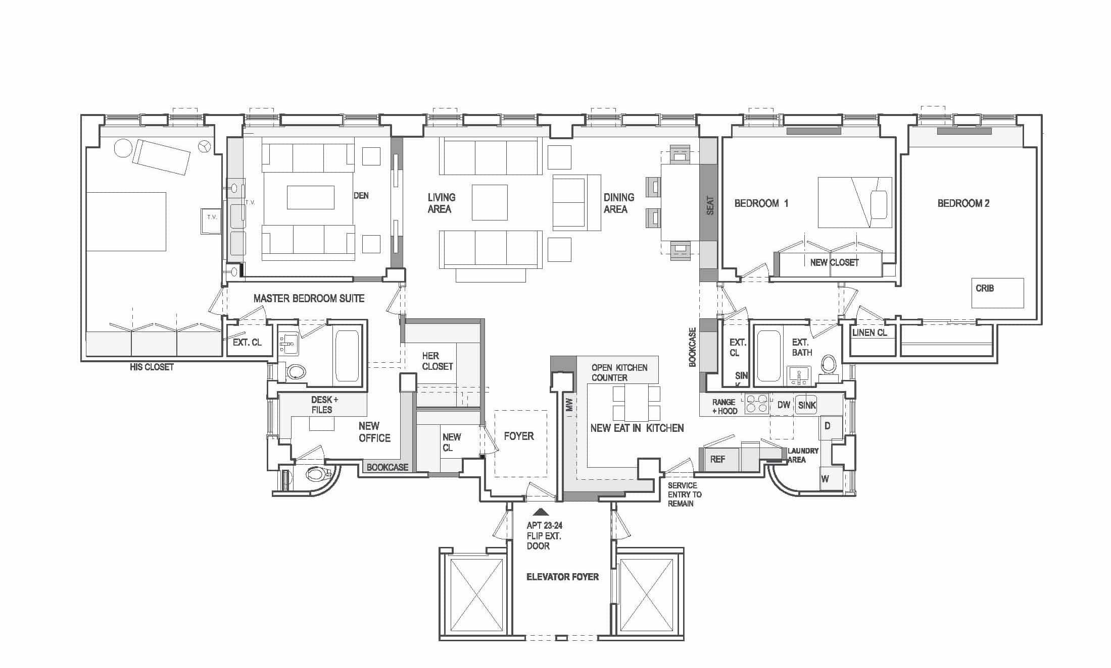 Floor plan to combine two apartments, New York City