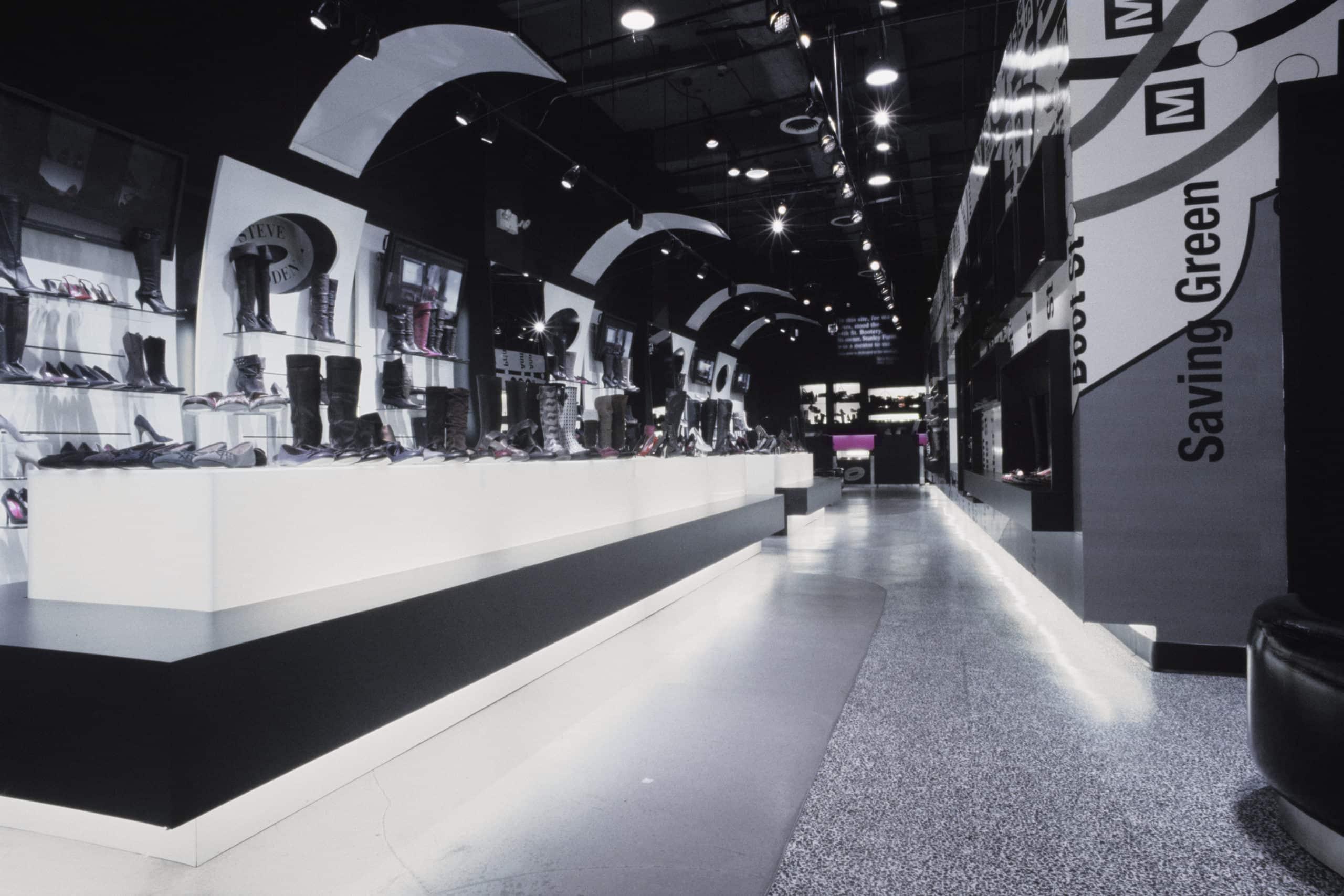 Runway effect display in Steve Madden flagship store design, New York City