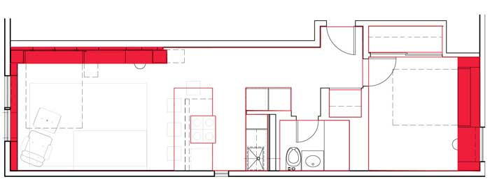 Before and after design plans to create multi use wall solution in New York apartment