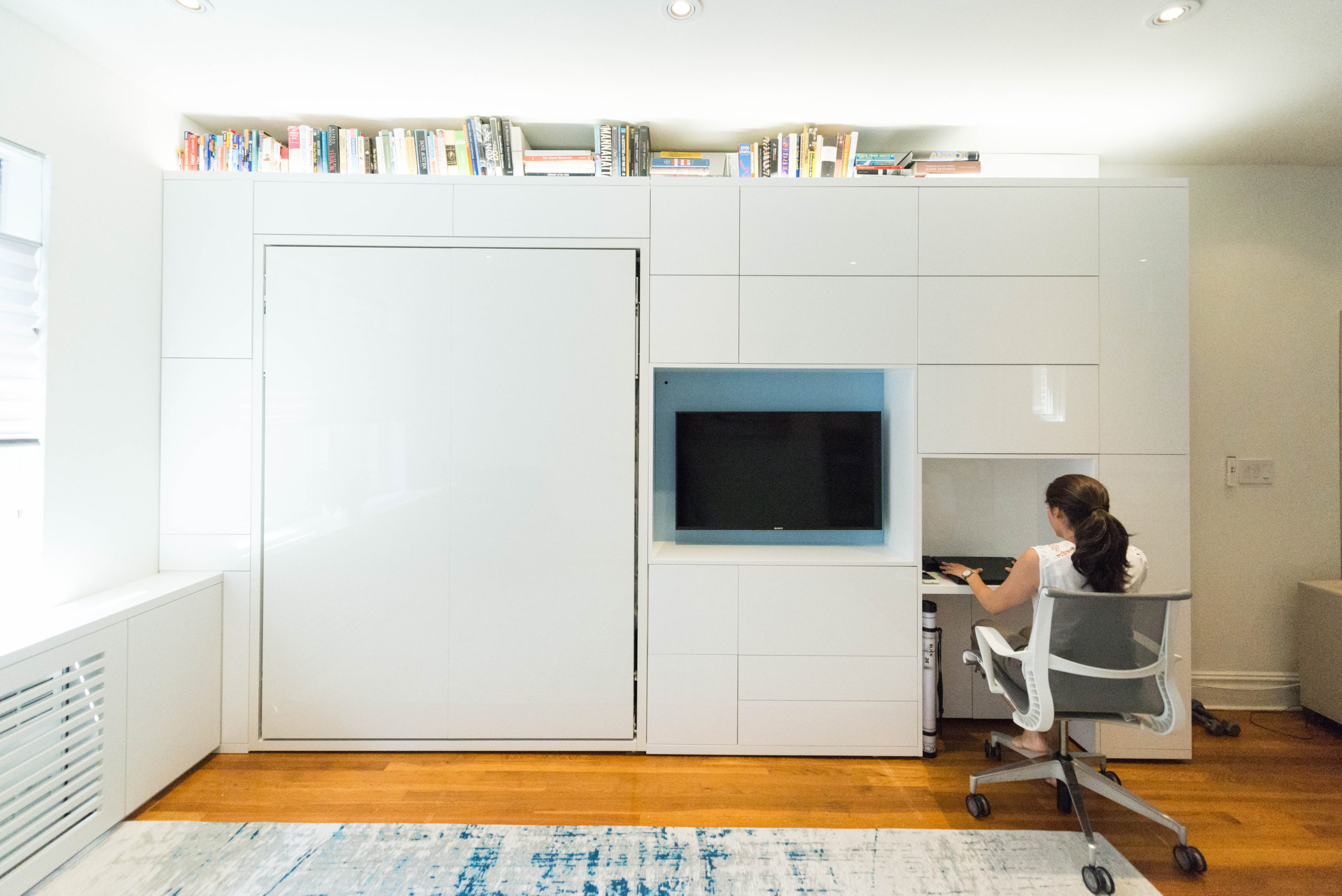 Single wall design solution to maximise space in New York apartment