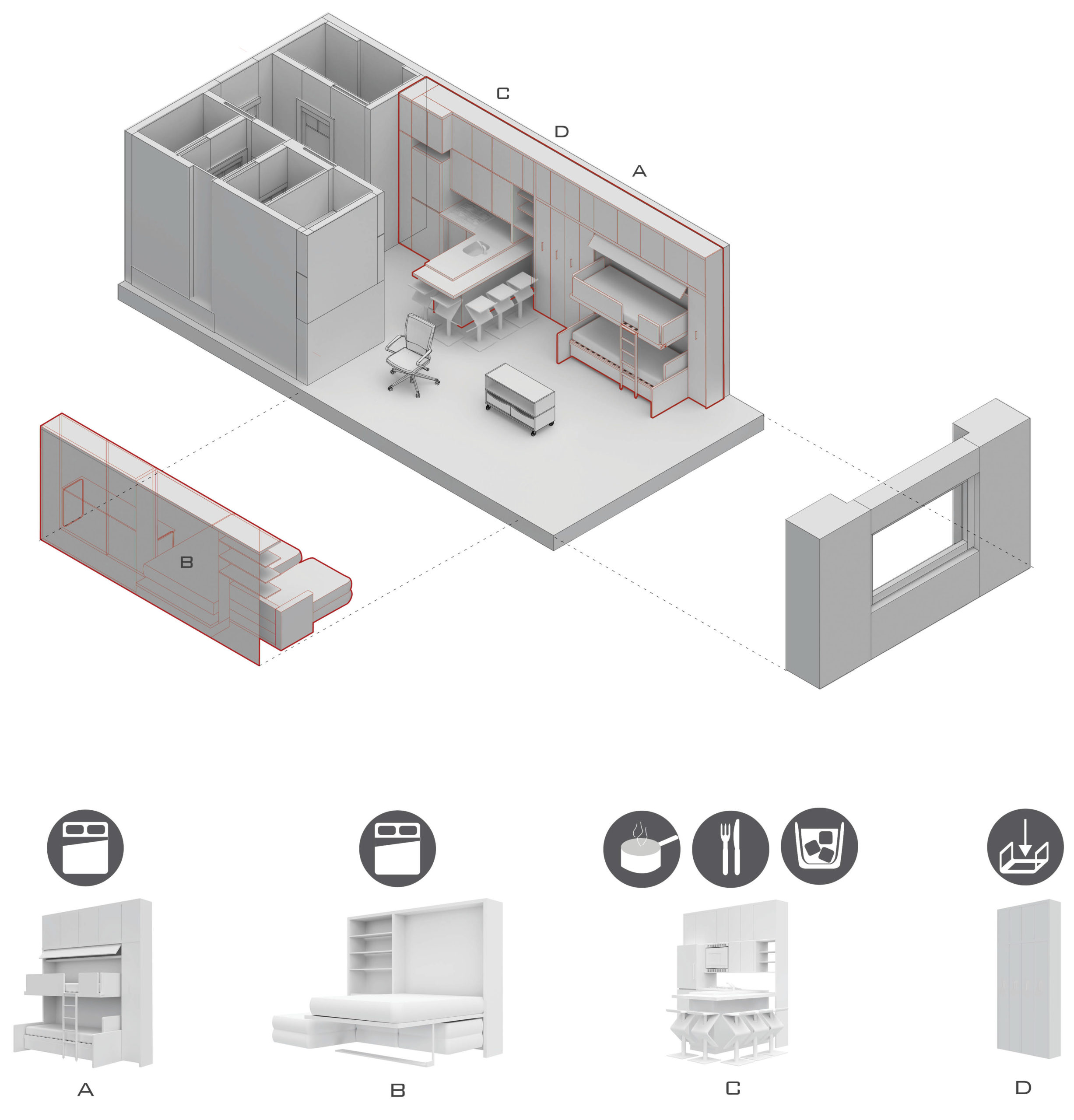 Small space optimized with a multifunction wall system for 24 hour use