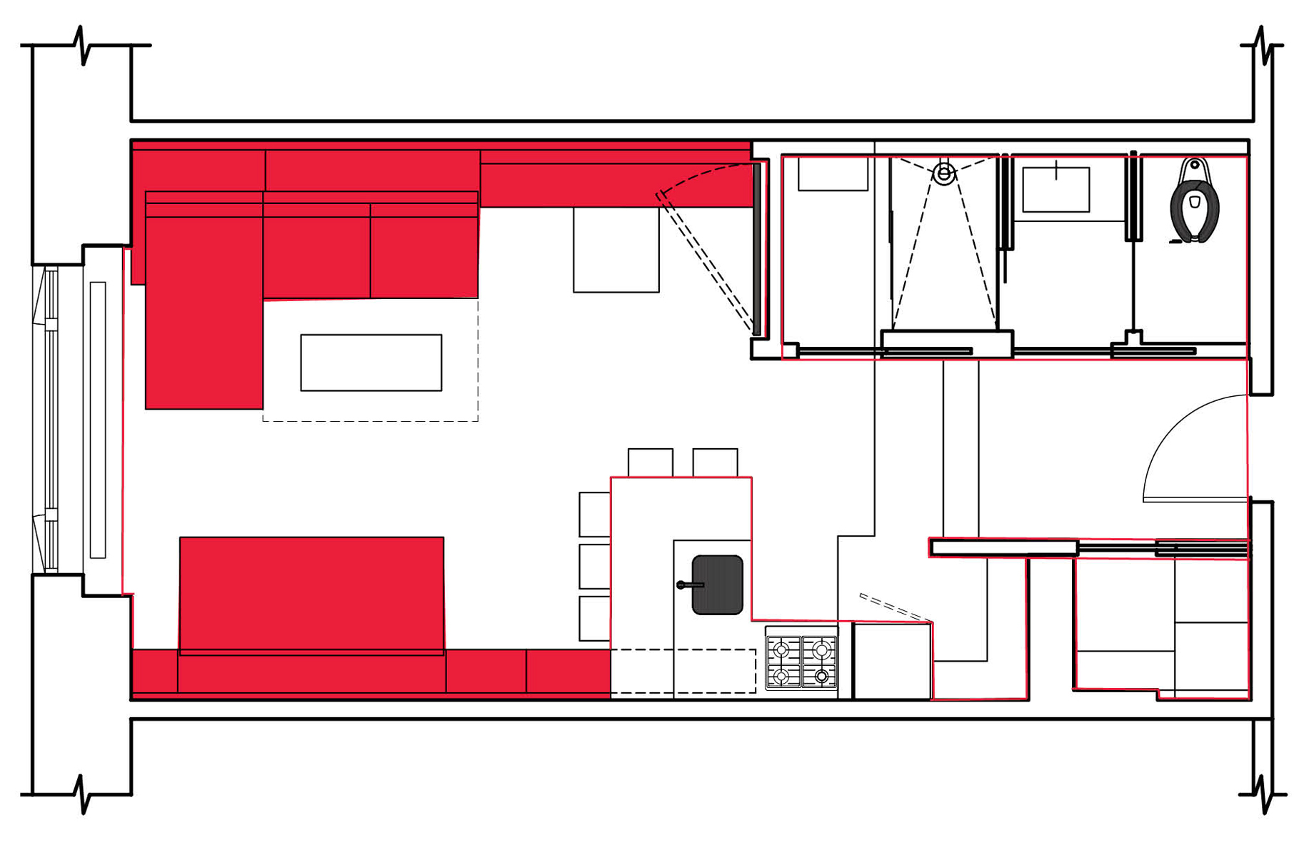 Before and after plans to maximise living space in a small New York City apartment
