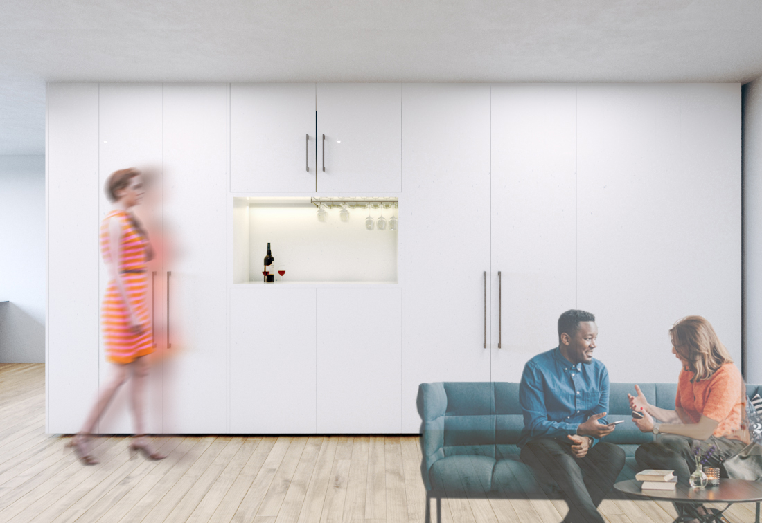 Multi-use space design, double wall solution by EXD Architecture