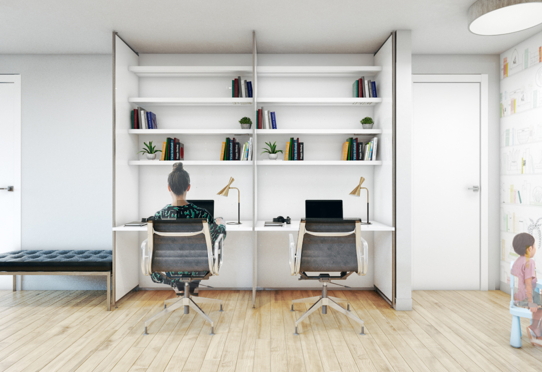 Work space in double wall design solution by EXD Architecture