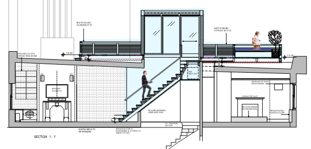 Side elevation architectural drawing of rooftop space in Manhattan.
