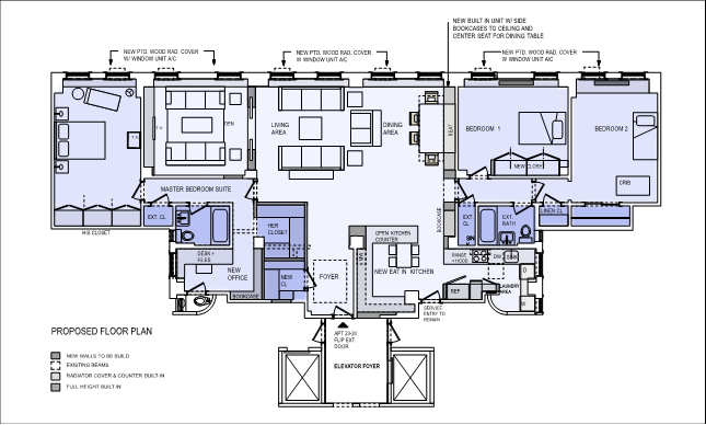 Floor plan to combine two apartments in New York City