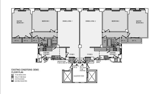 Floor plan two apartments before they were combined