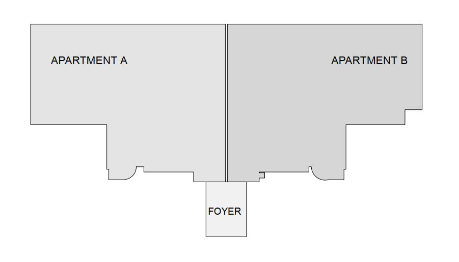 Floor plan of 2 apartments before they were combined