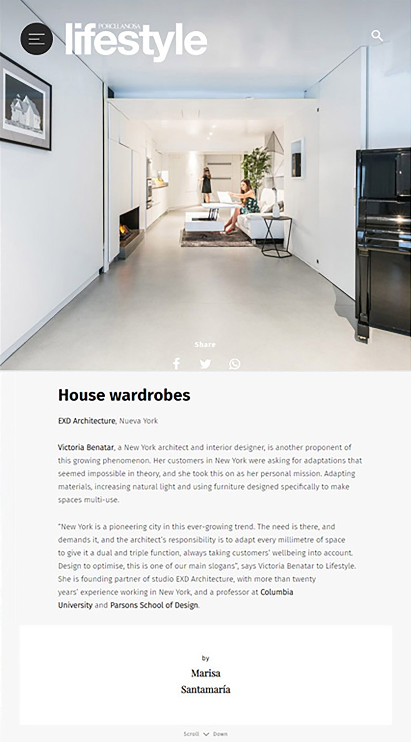 Porcelanosa Lifestyle magazine featured an article on Victoria Benatar of EXD Architecture