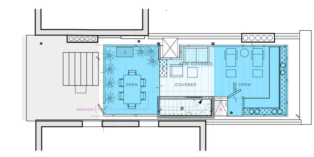 Floor plan of new rooftop space in Manhattan