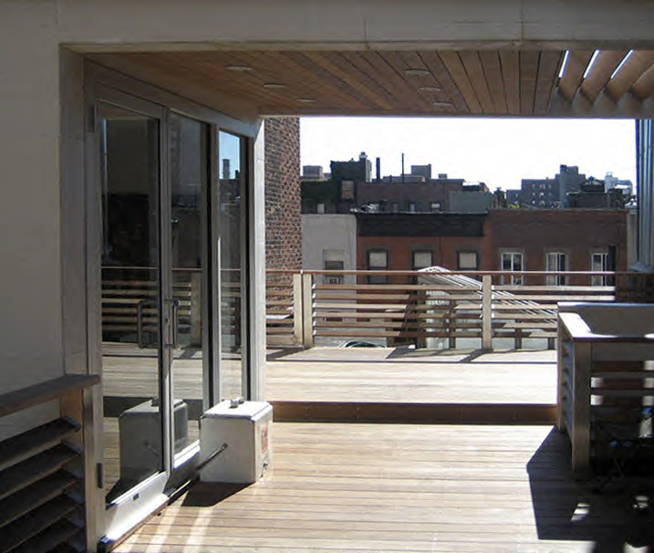 Front view from new rooftop space over looking New York skyline