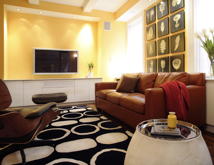 Den area after renovation to combine two apartments in New York City