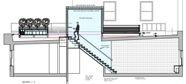 Side elevation drawing of rooftop design New York City