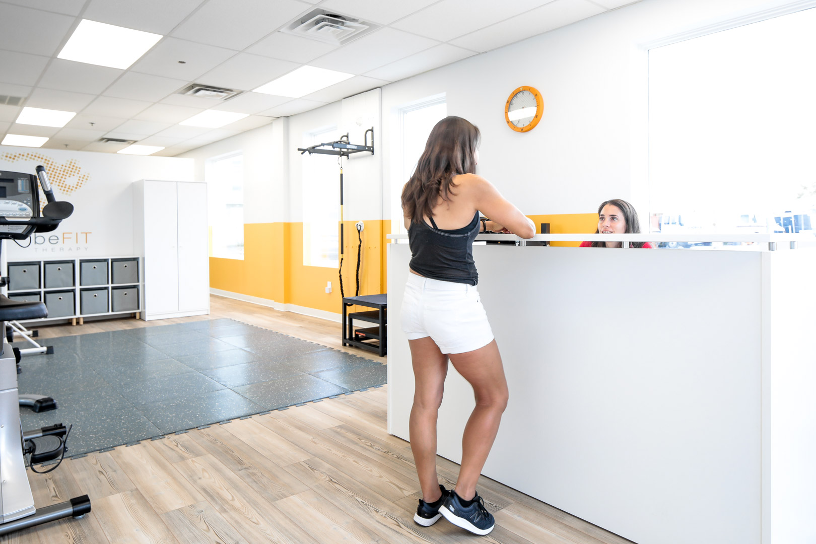Gym space in commercial office renovation by EXD Architecture
