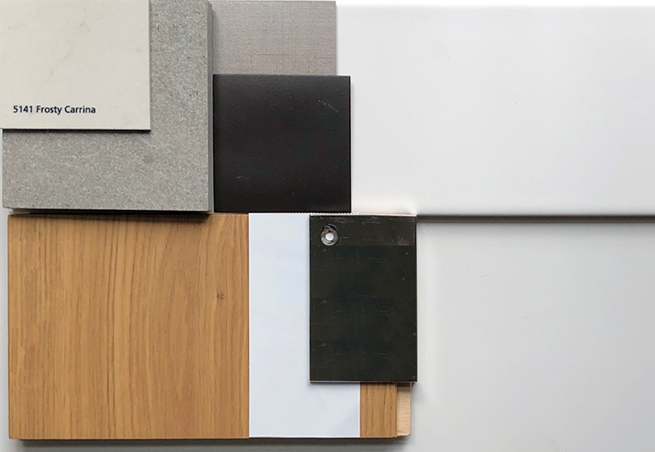 Materials board for kitchen renovation New York