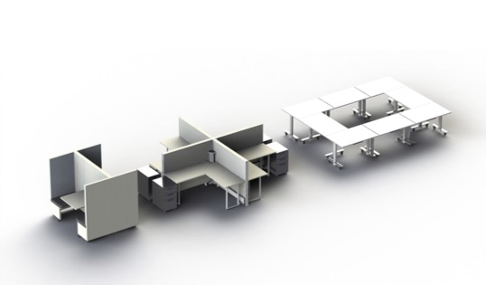 Transformable plug and play office furniture options