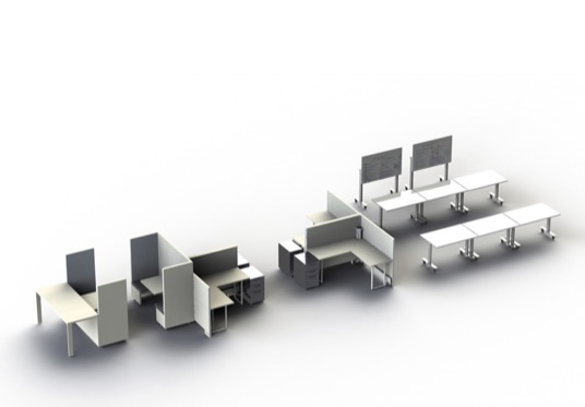Plug and play office furniture for flexible office space New York City